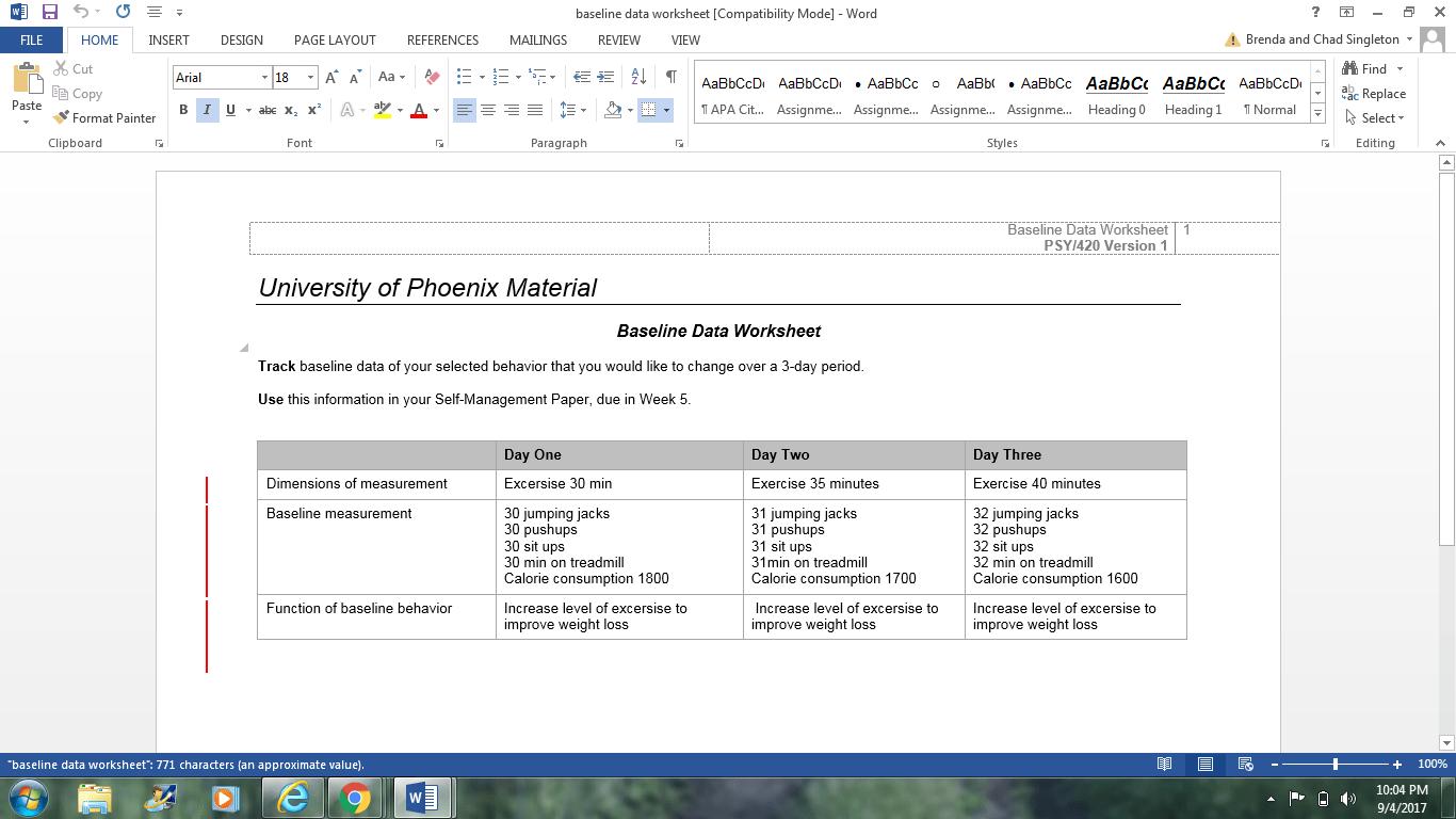 Psy420 Baseline Data Worksheet