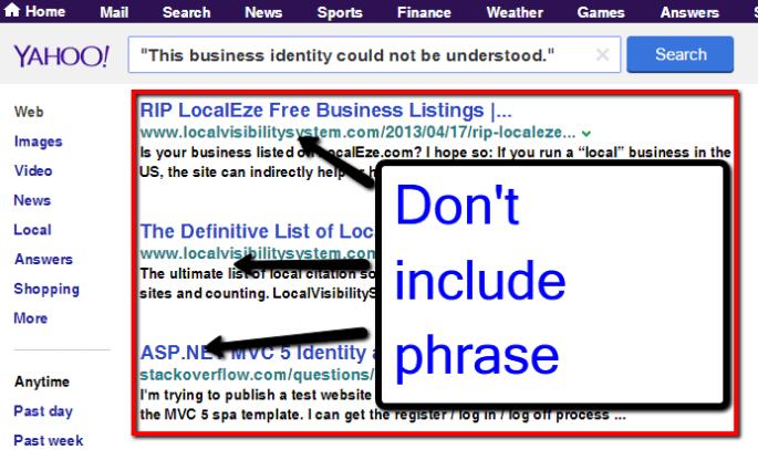 Yahoo No Results