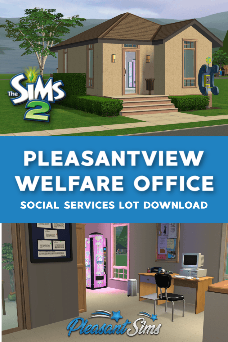 The Sims 2 Pleasantview Community Lot - Workforce Center - is a welfare office where your Sims can find a job in any career track or receive social services benefits if they are unemployed. Created to match the Pleasantview Architecture.