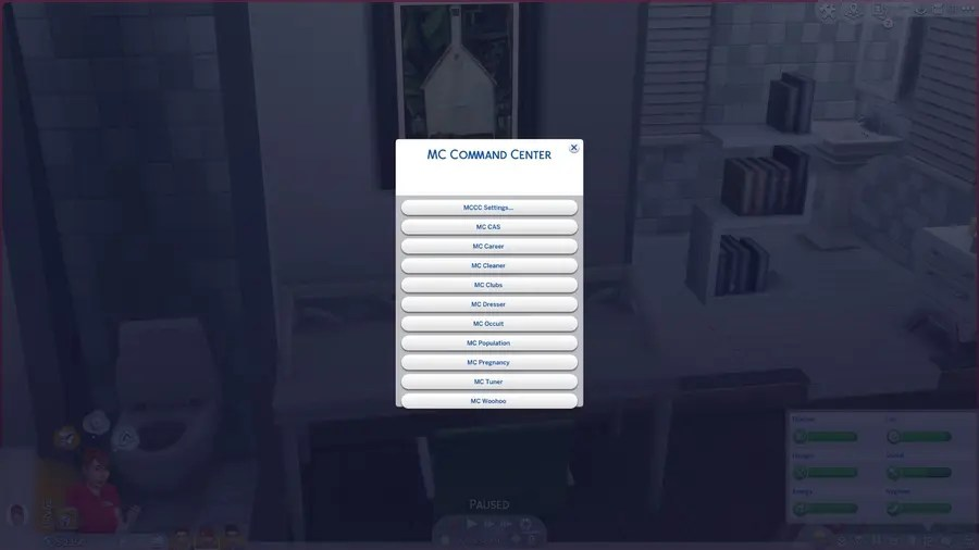 Sims 4 MC Command Center Settings