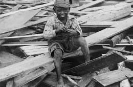 Kid at Galveston flood