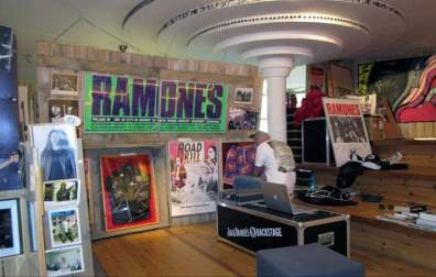 The Ramones Museum is not only about the past; it's very much involved in music and musicians happening right now. On the right is the platform where young bands perform, hoping to get some of the magic to rub off on them.