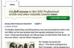 Velvet Underground in the Wall Street Journal link preview