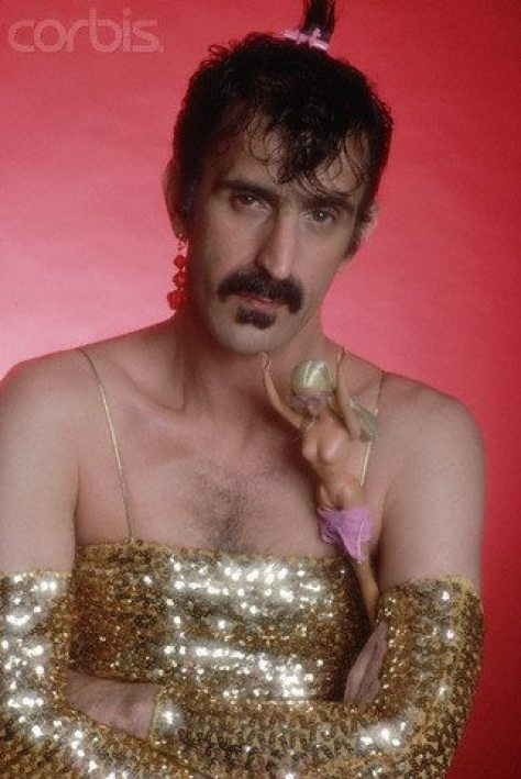 Frank Zappa in Gold Sequined Evening Gown