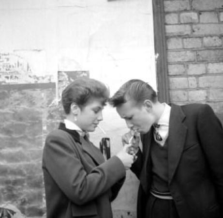 Rose Price and fellow Teddy girl smoking.