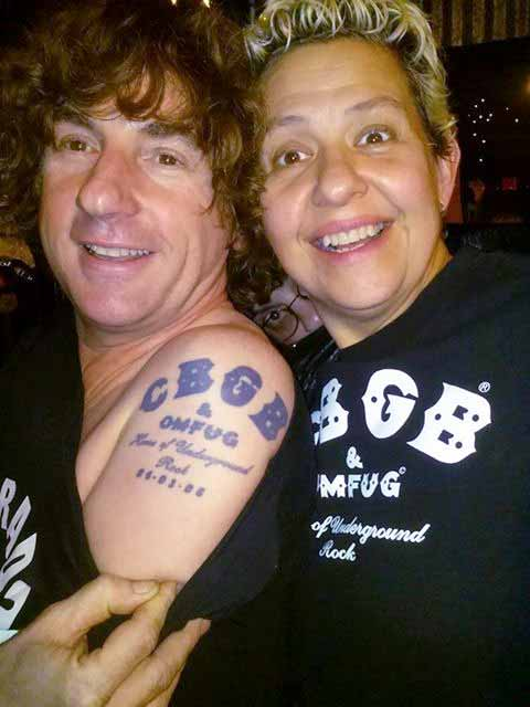 Andy Harris and his CBGB tattoo. Photo: Andy Harris