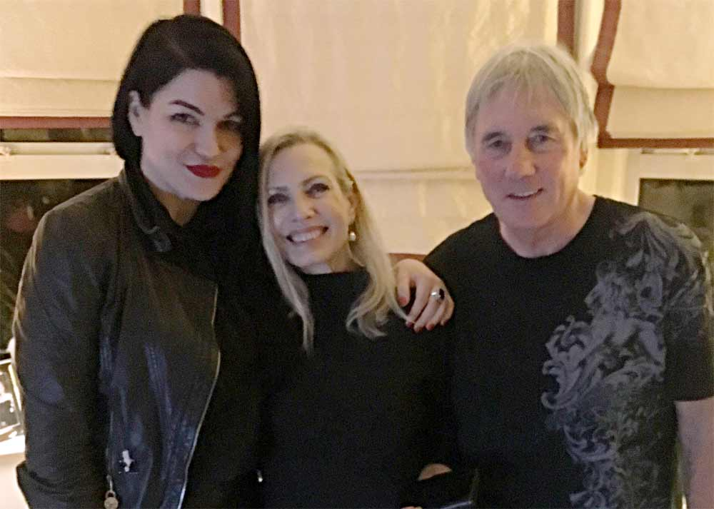 Amy Haben, Marliesa Mladek, and Mick Avory in Mick's home on 12/30/16. Photo: Clem Burke.