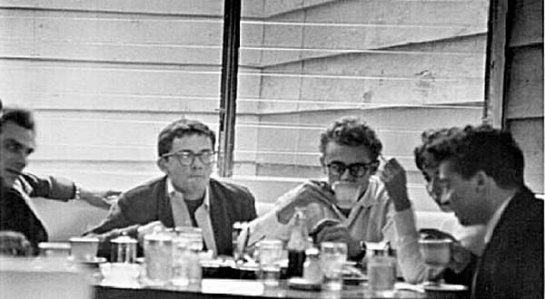 Jack Simmons sitting to left of James Dean in Googie's