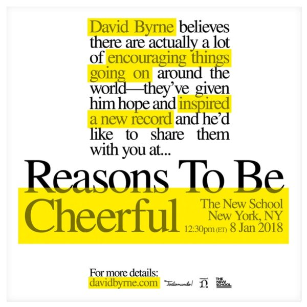David Byrne - Reasons To be Cheerful poster