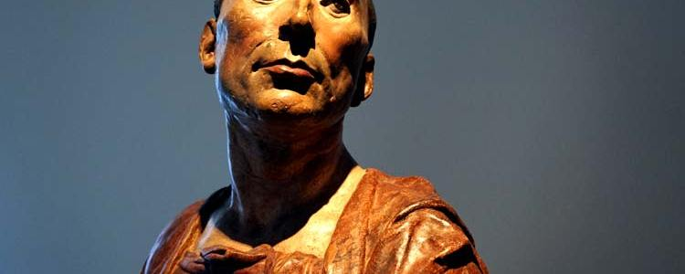 """""""Bust of Niccolo da Uzzano, 1430s, polychromed terracotta."""" - Donatello, Italian, ca. 1386-1466 """"A leading politician in Florence, this portrait is one of few surviving early Renaissance busts with their original polychromy. Many believe that the likeness is based on a death mask. But the sense of his spirit here may have more to do with Donatello's extraordinary ability to sculpt in color."""""""
