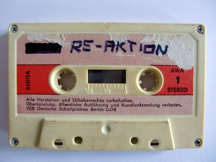 Illegal recording by the band Re-Aktion copied over an official release on the state-controlled record label Amiga. Credit: Mathias Schwarz