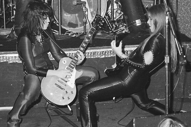 Joan Jett and Lita Ford of The Runaways, at The Whisky Aug. 1977