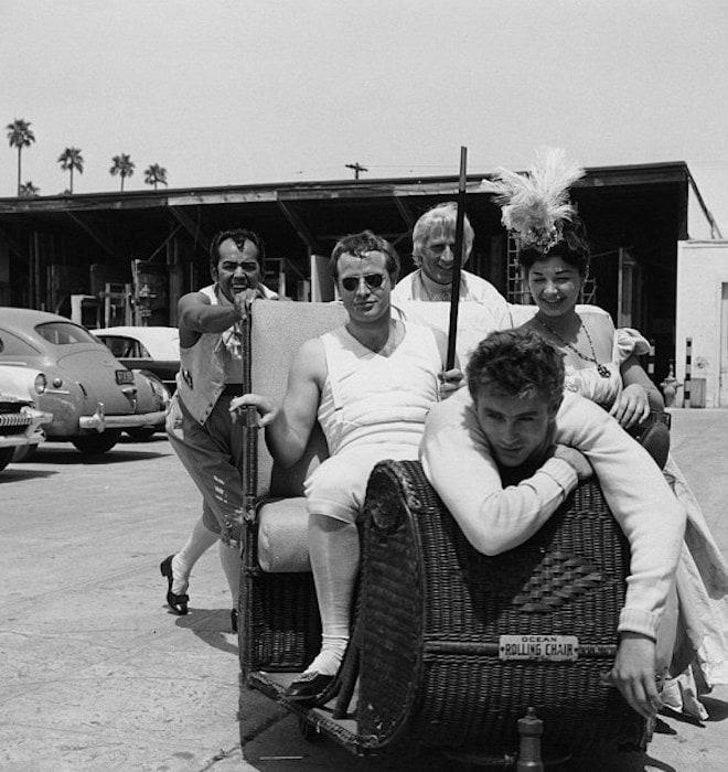 Marlon Brando and James Dean on a Hollywood set