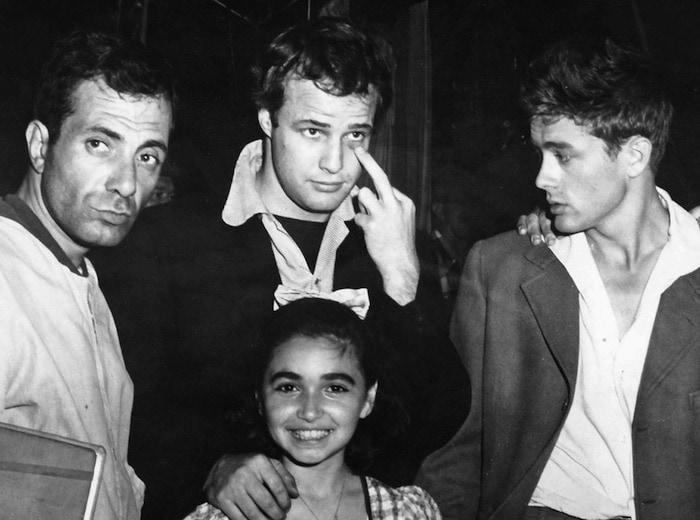 """Marlon Brando and James Dean, on the set of """"East of Eden"""""""