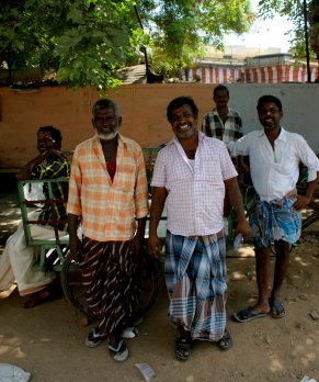 Men wearing lunghis, a traditional clothing staple of India https://en.wikipedia.org/wiki/Lungi