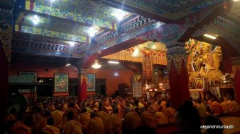 A puja ceremony by the monks