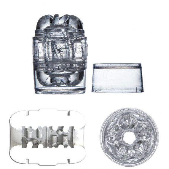 Clear Fleshlight Quickshot masturbation sleeve with interior and end view