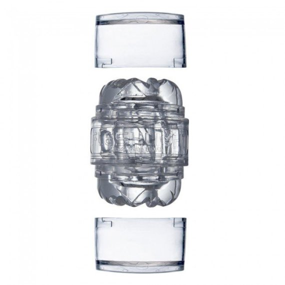 Clear Fleshlight Quickshot masturbation sleeve with end caps