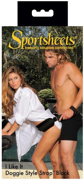 Sportsheets I Like It Doggy Style strap box art with semi-clothed male and female model demonstrating the strap
