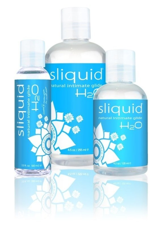 Three bottles of Sliquid Naturals H20 water-based lubricant sized 59, 155 and 255ml