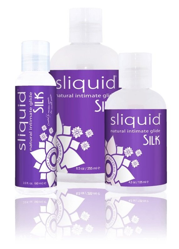 Three bottles of Sliquid Naturals Silk hybrid lubricant sized 59, 155 and 255ml