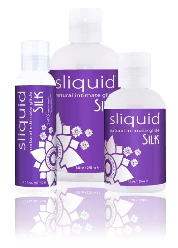 Three bottles of Sliquid Naturals Silk hybrid lubricant sized 59, 155 and 255ml