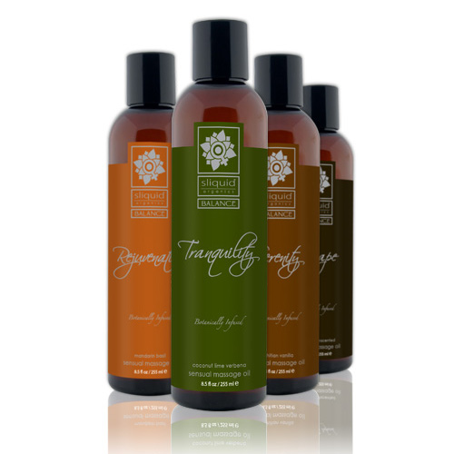 Four Sliquid Balance massage oils