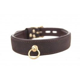 Leather Bound Nubuck Choker with O-ring fastner