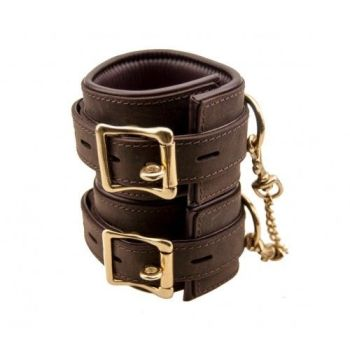 Brown leather Bound Nubuck Ankle Cuffs