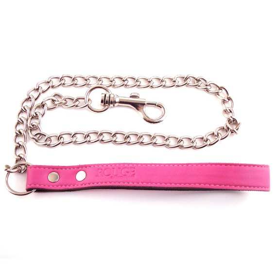Rouge Garments metal chain lead with pink leather handle