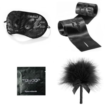 Bijoux Indiscrets set including a satin eye mask, satin wrist restraints, feather tickler and massage gel