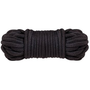 Ten metres of black cotton bondage and shibari rope in a tight coil