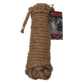 Ten metres of natural hemp bondage and shibari rope in a tight coil