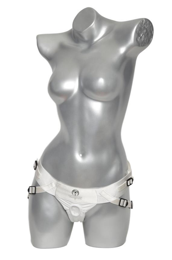 White Spareparts Joque strap-on harness with leg straps