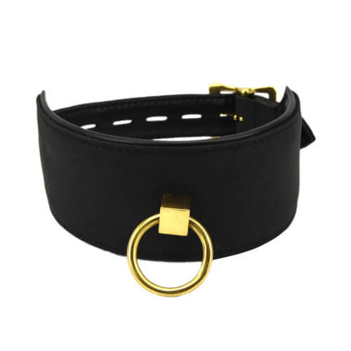 Bound Noir Leather collar with brass o-ring