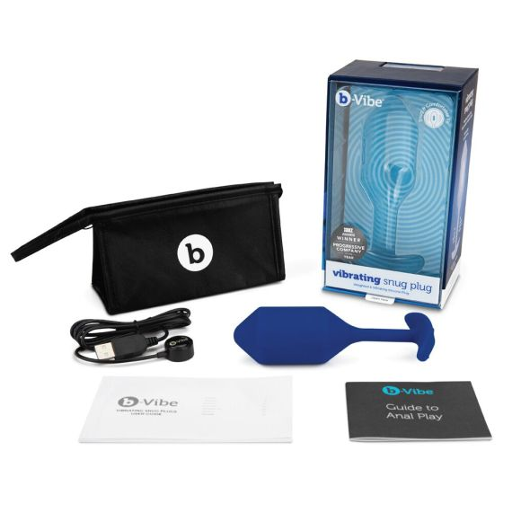 B-Vibe Vibrating Snug Plug with its box, charging cable, storage bag and free guide to anal play