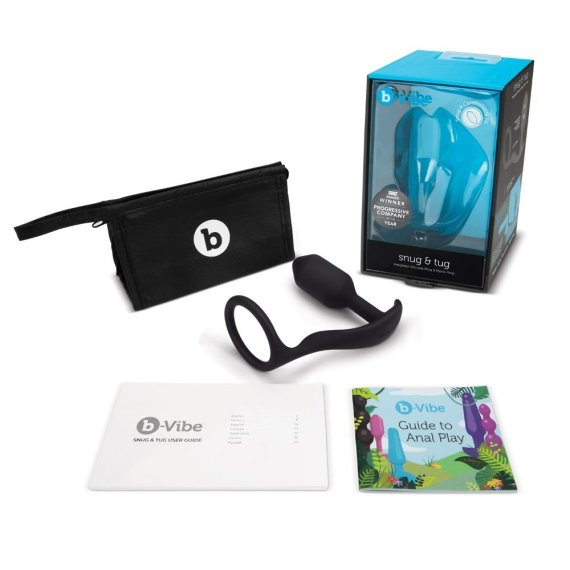B-Vibe Snug and Tug combined cock ring and butt plug with its packaging, storage case, instructions and included guide to anal play.
