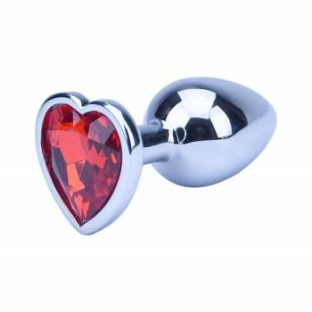 Precious Metals Silver Heart Butt Plug with red heart shaped gemstone base