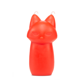 Temptasia Fox stylised fox shaped wax play candle with two wicks each at the tip of its ears