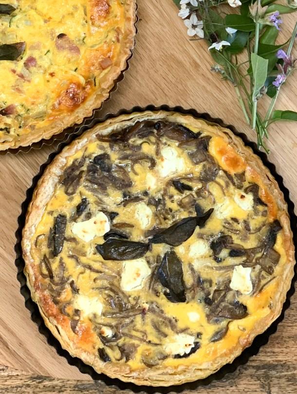 Mushroom & caramelised onion tart