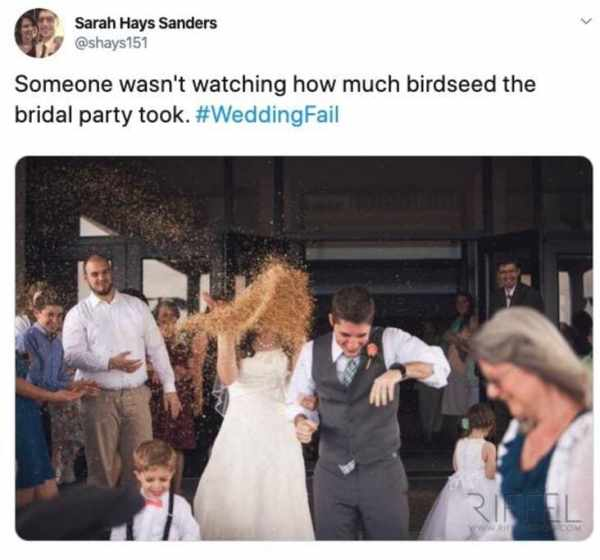 wedding fails, wedding fails pictures, funny wedding fails, epic funny wedding fails, epic wedding fails compilation, hilarious wedding fails, hilarious wedding picture fails, funniest wedding fails, hilarious wedding photo fails, wedding fail pics, wedding fail, wedding fail picture, a lot of birdseed thrown on bride