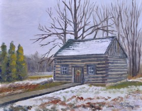 Clark Cabin, Heritage Village 11 x 14 Oil on Ampersand. $425. framed (Donation given to Heritage Village upon sale.)