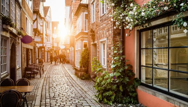 24553906 - historic schnoorviertel at sunset in bremen, germany