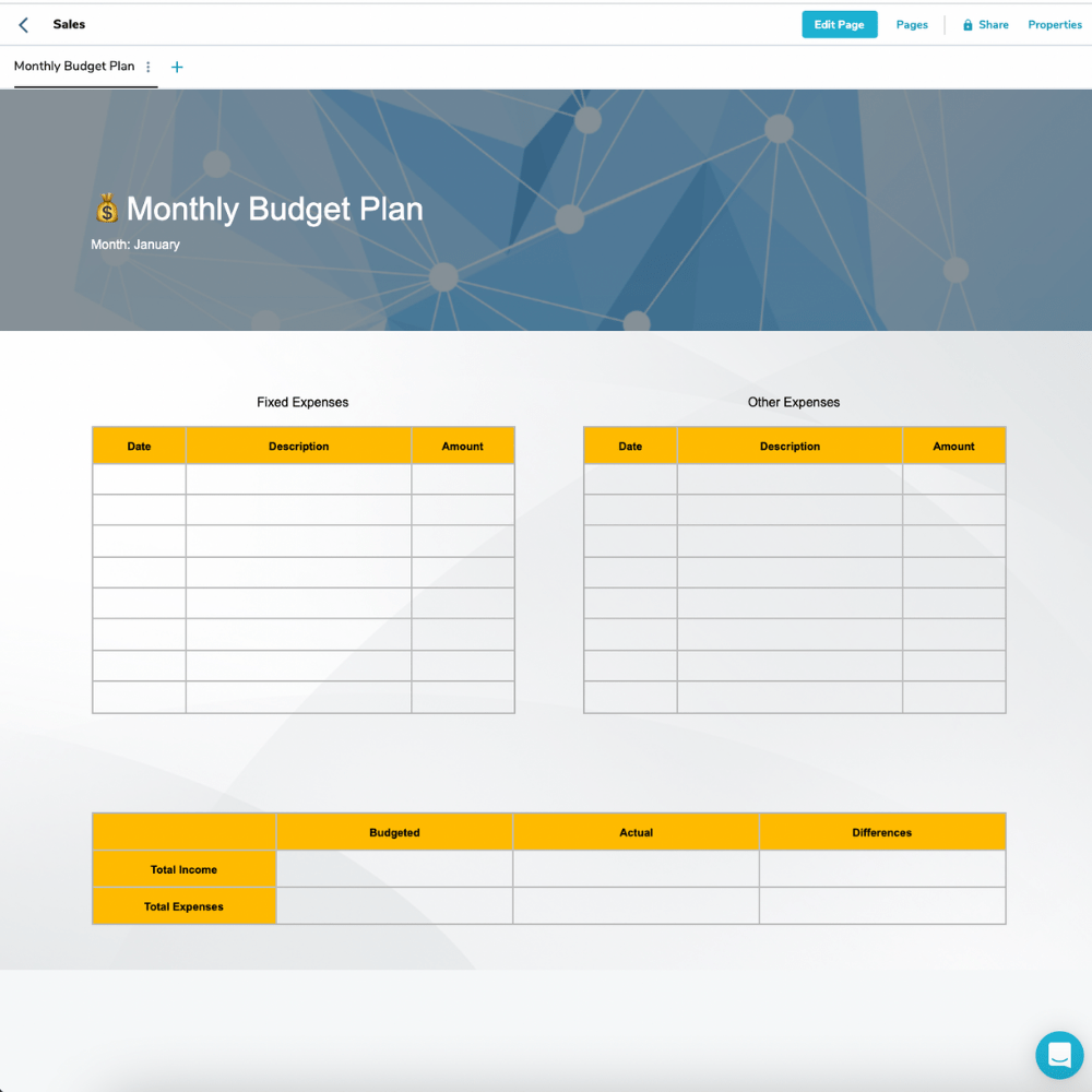 Monthly Budget Plan Template, Plexie