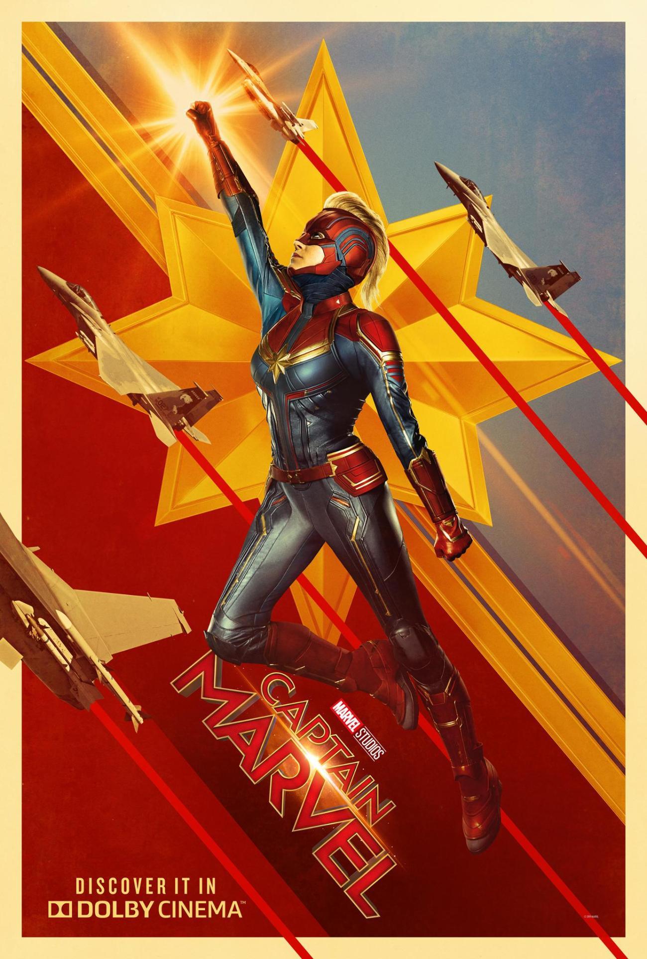 Póster Dolby de Captain Marvel (2019). Imagen: Dolby Cinema Twitter (@DolbyCinema).