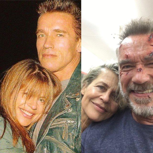 Linda Hamilton y Arnold Schwarzenegger antes y después. Imagen: Arnold Schwarzenegger Twitter (@Schwarzenegger).