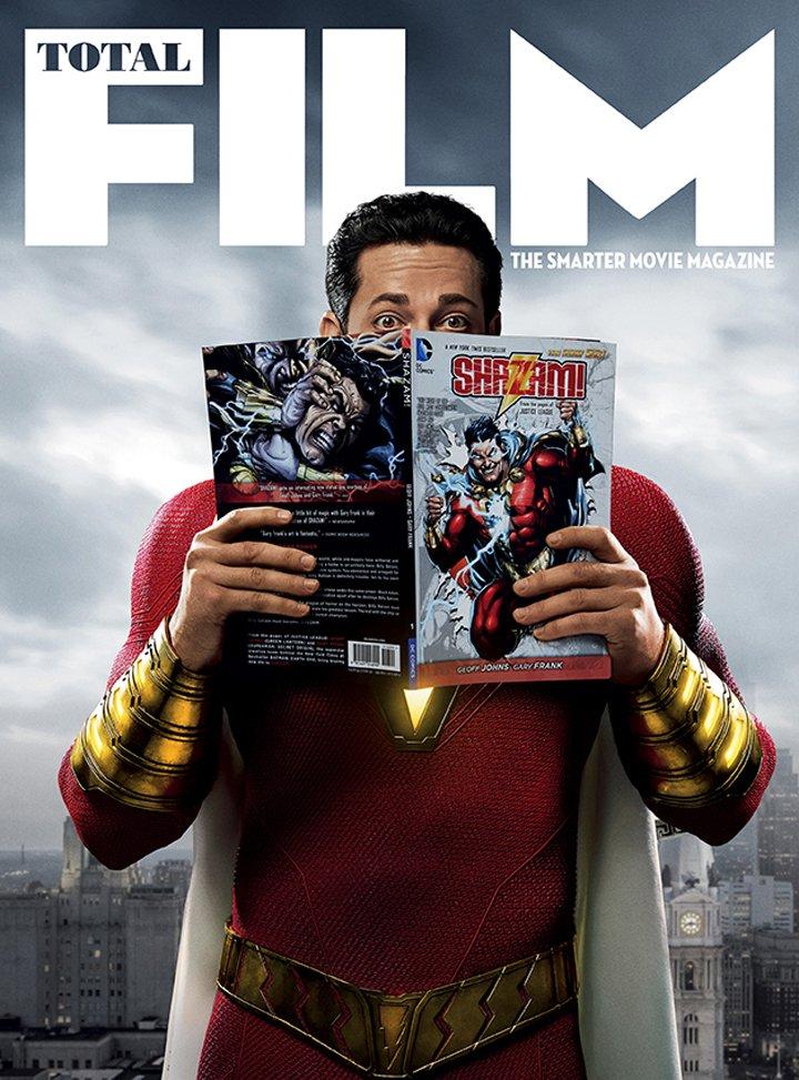 Shazam (Zachary Levi) en la portada para subscriptores de Total Film. Imagen: Total Film Twitter (@totalfim).