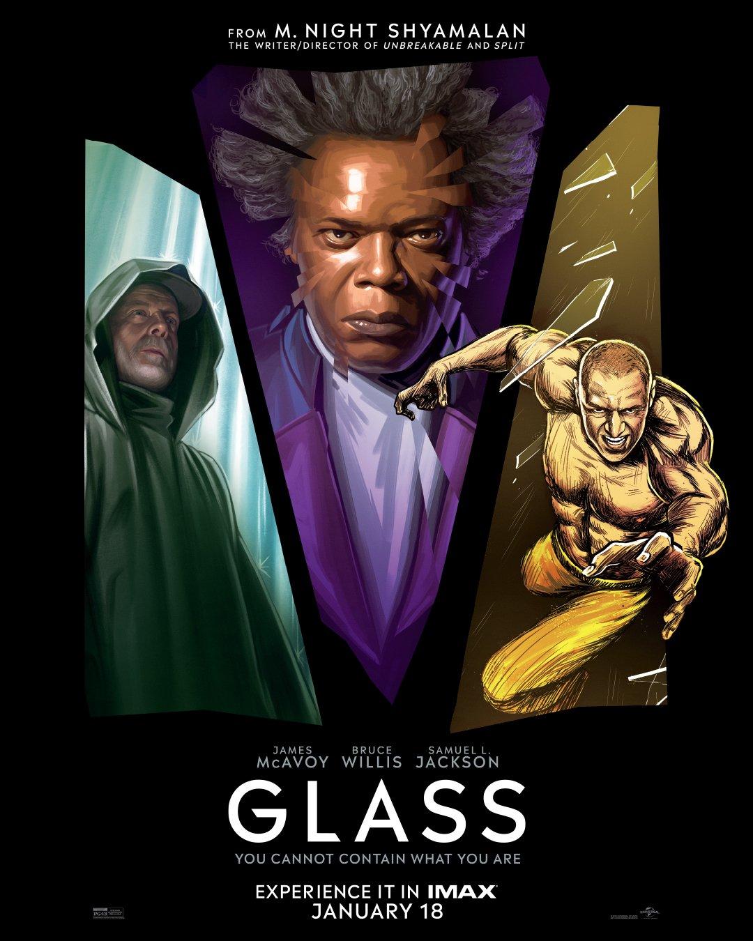 Póster IMAX de Glass (2019). Imagen: IMAX Twitter (@IMAX).