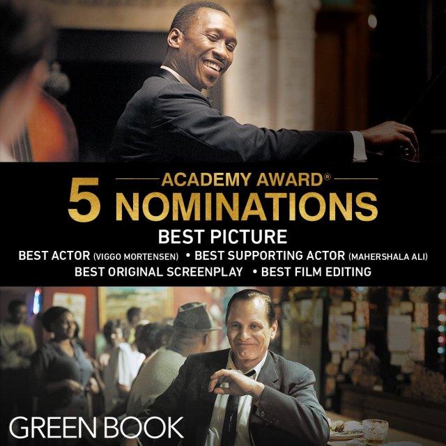 Las nominaciones de Green Book (2018) a los Premios de la Academia. Imagen: Green Book Twitter (@greenbookmovie).