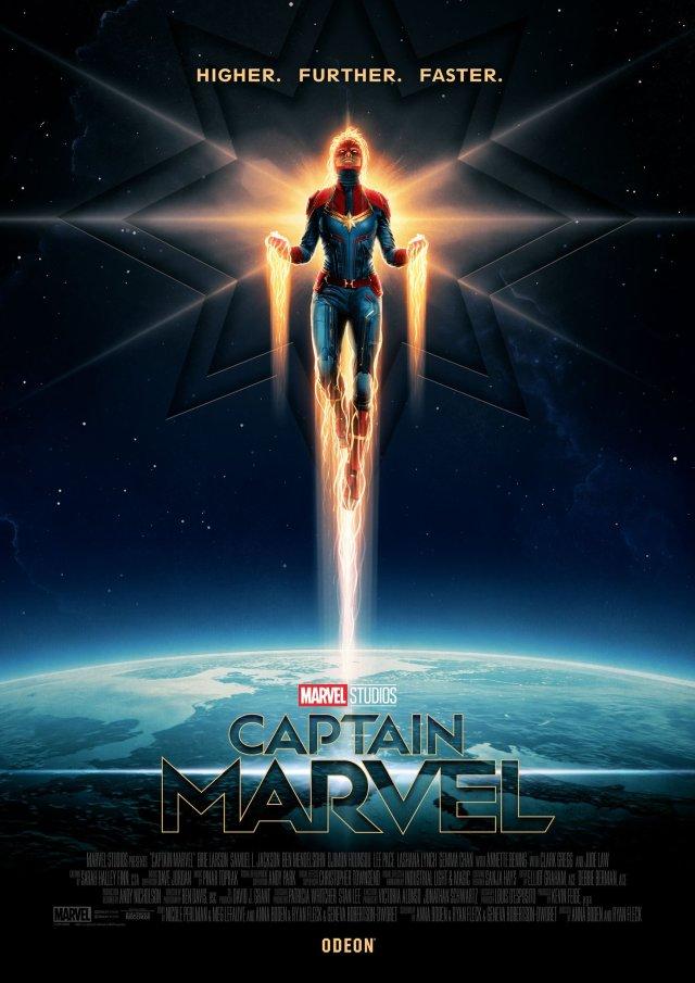 Póster de Captain Marvel (2019) para Odeon Cinemas. Imagen: ODEON Twitter (@ODEONCinemas).